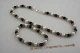 pnset389 Wonderful black agate and cultured Pearl Necklace jewelry set in wholesale