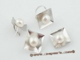 Pnset398 Stylish square design sterling silver 9.5-10mm bread pearl jewelry set