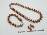 pnset403 Fashion 7-8mm bread pearl necklace jewelry set in chocolate color