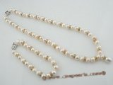 pnset405 Gorgeous 8-9mm white freshwater potato pearls necklace jewelry set