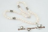 pnset408 Fashion 6-7mm white nugget pearl costume necklace jewelry set in wholesale