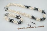 pnset409 Elegant triple twisted white and black freshwater side drilled pearl jewerly set