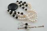 pnset411 7.5inch- Three strand black& white designer bracelet jewelry
