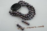 pnset412 Timeless triple strands Black pearl bracelet jewelry set