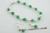 pnset414 Fashionable potato pearl and jade designer bracelet jewelry set