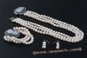 pnset415 Triple rows white potaot costume necklace jewelry set in wholesale