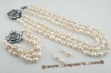 pnset416 9*11mm white baroque nugget pearl jewelry set in triple rows