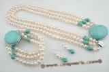 pnset418 Elegant triple strands freshwater pearl and turquoise spring necklace set