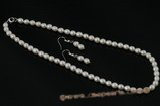 Pnset427 Beautiful 6-7mm white frshwater rice pearl jewelry set
