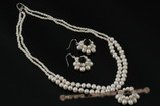 pnset432 Double rows freshwater pearl flower layer costume necklace