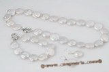 Pnset453 Enticing hand-knotted 16-17mm large coin pearl necklace&bracelet jewelry set