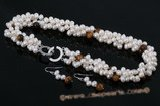 pnset463 Hot selling triple rows twisted pearl necklace with tiger&#39s eye beads