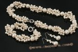 pnset478 Hot selling freshwater side drille and whorl pearl twisted necklace