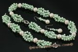 pnset479 Green freshwater side drille & whorl pearl twisted necklace for Xmas