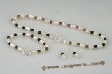 pnset484 Hand knotted 9-10mm nugget pearl& Tourmaline princess necklace