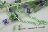 pnset485 Fashion green freshwater top-drilled pearl necklace& earrings set