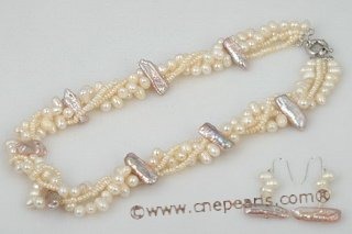Pnset487 Hand-knotted Freshwater Pearl Twisted Necklace