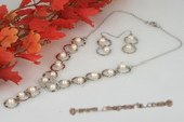 pnset492 Fashion Sterling Silver 6-7mm Round Pearl Y Style necklace& earrings set