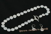 pnset497 Hand knotted 11.5-12.5mm white coin pearl princess necklace