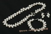 pnset509 Hand-knotted 8-9mm ivoy wheat shape pearl jewelry set