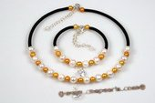 pnset536 Elegance White& Champagne Potato Pearl Choker Necklace and Bracelet