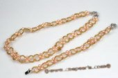 pnset538 Hand Knitted Potato Seed Pearl Necklace& Bracelet Set