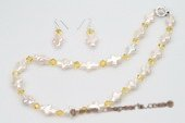 pnset542 Freshwater Cross Pearl and Austria Crystal Necklace Jewerly Set