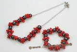 pnset549 Hand made 11-12mm potato pearl with red coral pearl jewelry set