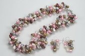pnset552 Triple strands Colorful nugget pearl twisted costume necklace