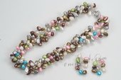 pnset553 Hot Selling Mix-color nugget pearl twisted costume necklace