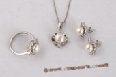 Pnset561 Designer 7.5-8mm White Bread Pearl Flower 925silver Jewelry Set