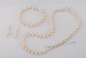 pnset582 Hand-knotted 7-8mm wheat shape pearl Necklace jewelry set