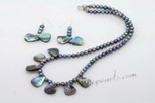 Pnset601 Unusual Design Potato Pearl and Abalone Shell Necklace Jewelry