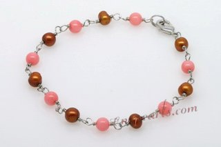 Pnset602 Hand Crafted Cultured Pearl and Coral Necklace Jewelry Set