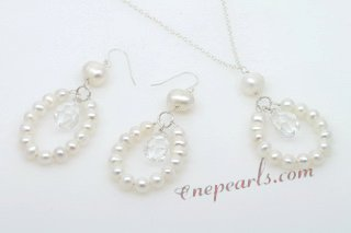 Pnset604 Elegance Sterling Silver Cultured Pearl Neckalce& Earrings set