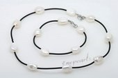 Pnset605 New Style Large Baroque Pearl Black Leather thong Necklace