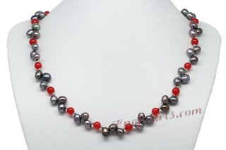Pnset606 Fresh Look Designer Cultured Pearl and Agate Princess Necklace