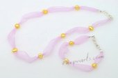 Pnset615 Designer 7-8mm Nugget Pearl Organza Ribbon Necklace