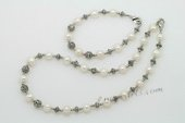 Pnset622 Lovely Freshwater Potato Pearl Necklace Jewelry Set