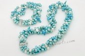 pnset624 Hot Selling Blue Freshwater pearl twisted costume necklace