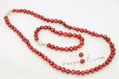 pnset632 Hand-knotted Wine Red Nugget Pearl Necklace Jewelry Set