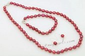 pnset633 Hand-knotted Rice Pearl Necklace Jewelry Set in Wine Red