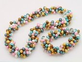pnset634 Hot Selling Mix-color Dancing pearl twisted costume necklace