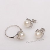 Pnset639 Sterling Silver Cultured Freshwater Pearl Ring and Earrings Set