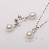 Pnset643 Elegant Sterling Silver White Pearl Earring and Necklace Set