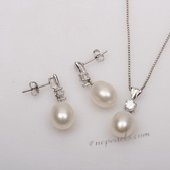Pnset644 Enticing 9-10mm Drop Pearl Sterling Silver Pendant and Earrings Set