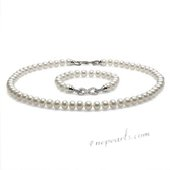 Pnset645 Modern White Freshwater Pearl 16-inch Strand and Bracelet Set