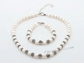 Pnset657 Fantastic Freshwater Potato Pearl and Metal Spacer Jewelry Set