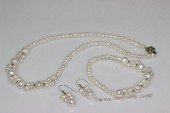pnset675  Classic white freshwater pearl necklace,bracelet&earrings  jewelry set