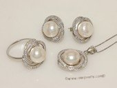 pnset677 Sterling Silver Jewelry Set Bread Pearl Pendant Earring and Rings